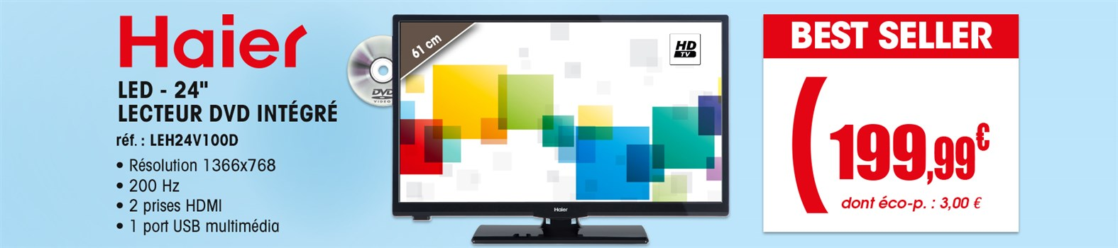 TV LED Haier LEH24V100D